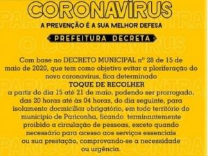Prefeitura de Pariconha decreta toque de recolher contra avanço da Covid-19