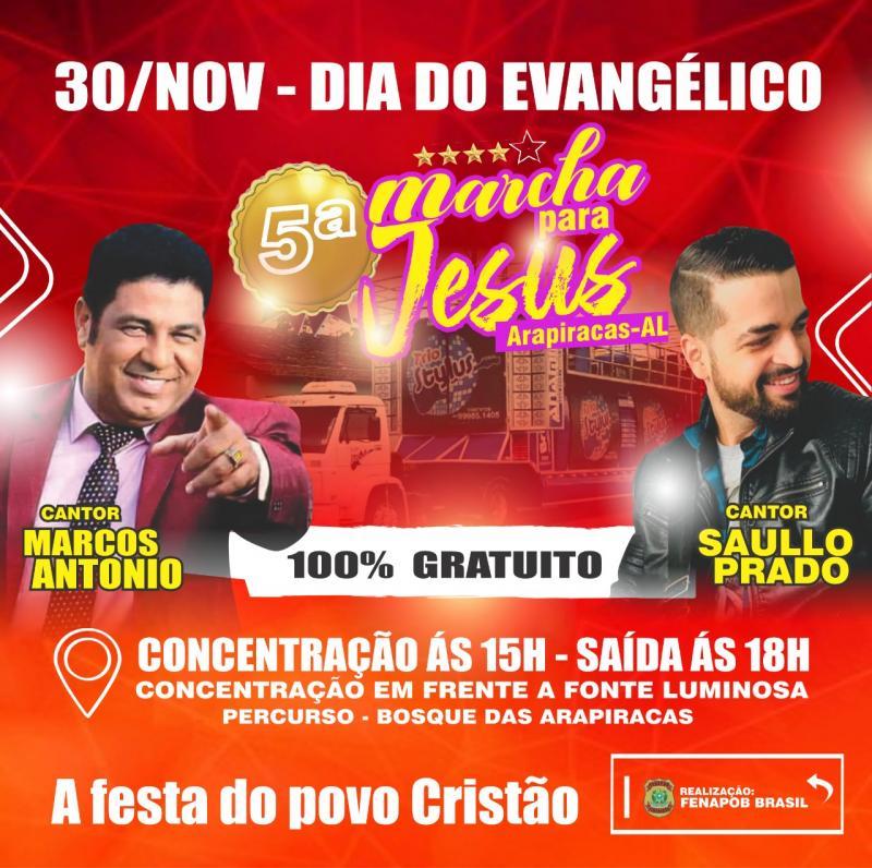 Projeto de lei do vereador Marcos Caetano instituindo o Dia do Evangélico é comemorado neste 30 de novembro com a 5ª Marcha para Jesus